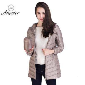 [Aiweier] ultraligero con capucha de la cremallera de nylon largo chaquetas de ganso blanco abajo cubren invierno de las mujeres de las muchachas del desgaste de la ropa