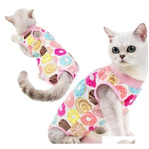 cartoon print breathable cat surgical recovery suit pet cat sterilization suit surgery wear anti licking wounds clothes will and sandy 7zN7