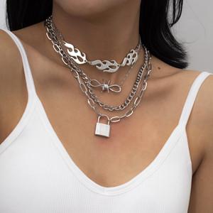 Frauen Lock-Halskette Multi Layer Liebes-Herz-Vorhängeschloss-Anhänger-Halskette Punk Curb Cuban Chunky dicke Kette Halskette Schmuck