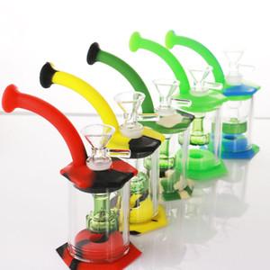 """5.9"""" Assemblare silicone Bong Glass testa di acquazzone del filtro facile pulizia Dab Rigs con bong mini 4mm quarzo banger silicone tubi"""