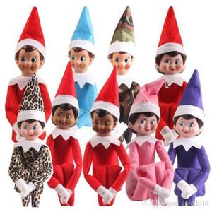 10 estilos juguetes Elf Navidad muñeco de peluche Duendes de Santa ropa de muñecas en el estante para el regalo de Navidad del envío rápido
