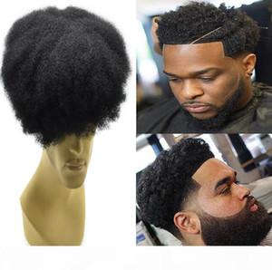 Toupee Toupee Celebrity Mens Hairpieces Afro Curl piena del merletto di colore nero di getto # 1 europeo Remy sostituzione dei capelli umani uomini dei capelli per gli uomini neri