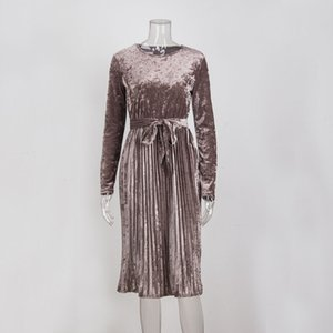 Susi et Rita Vintage robe à manches longues en velours femmes Robe moulante Belted Midi printemps Parti plissés Robes Robes Robe Femme