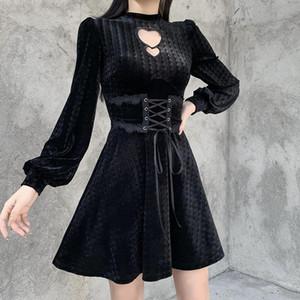 Леди выступая OUT Сердце Фонарь с длинным рукавом Талия Mini Лолита Платья Темные Готические Женщины Cool Corduroy Платье 2021 Осень