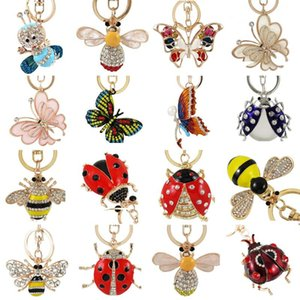 Enamel Alloy Jungle Animal Key Chain butterfly Bee Key Ring for Women Bag Handbag Charm Jewelry Keychain Car Holder