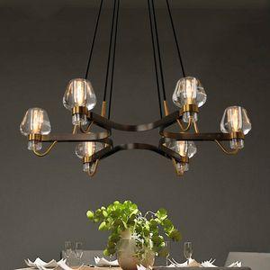 American Luxury Copper Retro Chandelier RH Loft LED E14 Pendant Chandelier Lustre Chandelier Lighting Drop Light For Living Room