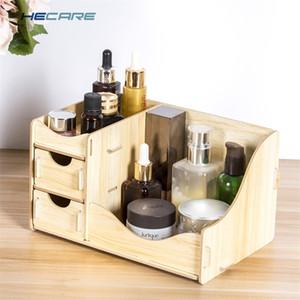 Maquiagem de armazenamento de desktop de madeira hecare para cosméticos mesa mesa gaveta organizador jóias nova y200628
