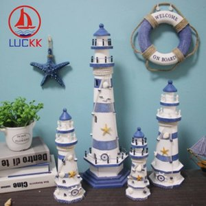 Luckk Akdeniz Tarzı Şerit Deniz Feneri Ahşap Model El Sanatları Ev Süslemeleri Yaratıcı Deniz Sanatları ve El Sanatları Süsler T200710