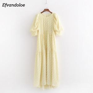 Efvandoloe желтый Maxi платье длинный элегантный слоеный рукав женщины вечеринка летние платья 2020 халат Y1227