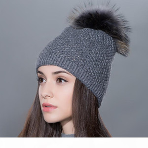 Fur Pompom Hat Thick Winter For Women Cap Beanie Hats Knitted Cashmere Wool Caps Female skullies beanies Headgear Winter Girl Lady Warm