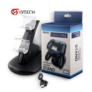 Syytech Бесплатная Доставка Игра Аксессуары Комплект Установочный контроллер Двухместный зарядное устройство Синее Света Зарядное устройство Зарядное зарядное устройство Для PS4 / Slim / Pro Запчасти
