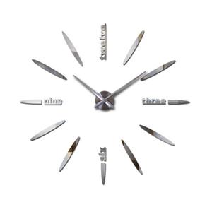 2020 new clock wall clocks horloge watch horloge murale 3d diy acrylic mirror stickers living room quartz needle