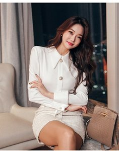 Korean autumn temperament office lady slim splicing shirt dress