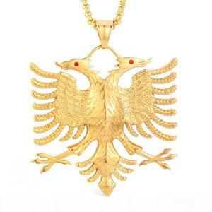 Soitis Albanien-Flagge Eagle-Anhänger russisches Emblem Halskette Wappen Doppel-Adler-Edelstahl-Anhänger Ketten J190713