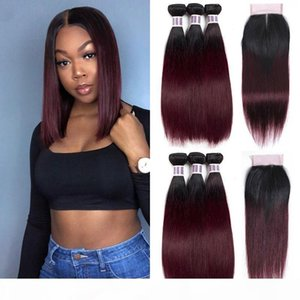 Straight 1B 99J Red Wine Ombre Human Hair Weaves 4x4 Middle Part and Free Part Lace Closure with 3Pcs Bundles Pre-Colored Non-Remy Hair