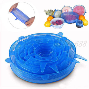 Hot 1 Set Silicone Stretch Suction Pot Lids 6Pcs Set Food Grade Fresh Keeping Wrap Seal Lid Pan Cover Kitchen Tools Accessories