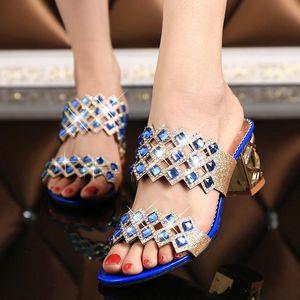 Caliente Summer Elegante Moda Mujeres Zapatos Casuales Grueso Con Sandalias Peep-Toe Beach Zapatos Tacón Medio Dorado Brillante Plata