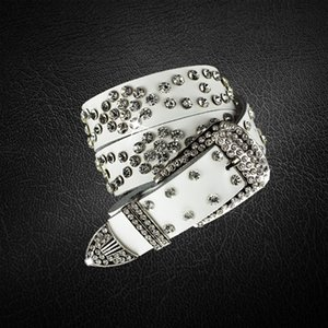 tiktok belt fashion rhinestone inlaid unisex gorgeous crystal shiny design belt cowhide pin buckle belt high-quality two-layer cowhide