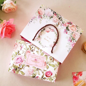 21*14*5cm 5pcs spring rose in garden Cookie mooncake Gift Paper Box and bag Macaron Chocolate Snacks Sweet Candy Storage Boxes 201029