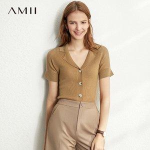 Amii Frühling Sommer Solid Kausal Strick-Hemd Frauen Einreiher Feste Slim Knit Pullover LJ201017