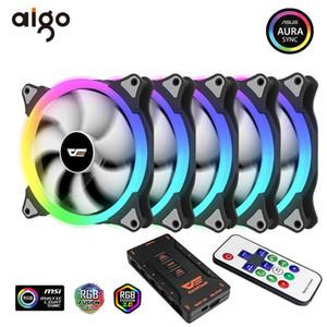 Aigo PC Case Fan RGB SYNC AURA-5V de refroidissement 3P CPU Ventilateur PC Cooler calme avec IR Computer Case radiateur LED à distance Ventilateurs
