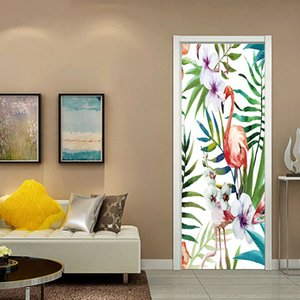 Flamingo Nordic Doors Sticker Modern Tropical Plants Minimalist Oil Painting Decorative 3D Wallpaper for Door Living Room Decor