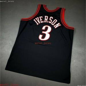 Personnalisé cousu Allen iverson Mitchell Ness Black Jersey XS-6XL Mens Basketball Jerseys pas cher Hommes Femmes Jeunesse