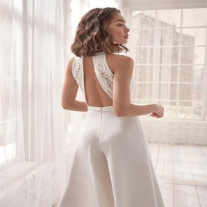 Beach White Jumpsuit Evening Dresses Sexy Sleeveless Hollow Back Ruched Satin Party Wear Appliqued Lace In Stock Special Occasion Dresses