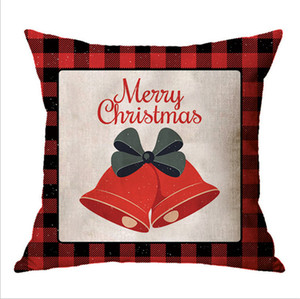 45*45cm Plaid Pillow Case Christmas Pillowcases Linen Xmas Designs Cartoon Printed Throw Pillow Covers Home Decorations Gifts E102602