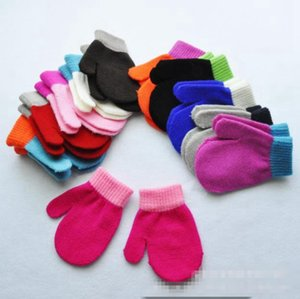 Winter Baby Gloves Knitted Wool Warm Mittens Candy Color Full Finger Glove Fashion Kids Solid Gloves Accessories 11 Colors 1000 pairs DW6055