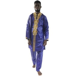 MD 2020 African Men's Shirt Pants Set 2 Pieces Dashiki Clothes Suit Bazin Riche Embroidery Top Trouser Traditional Formal Attire