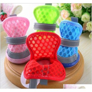 dog sandals anti-slip small dog shoes soft mesh puppy shoe reflective hollow covers dog supplies 6 colors lqpyw1188 BhloU