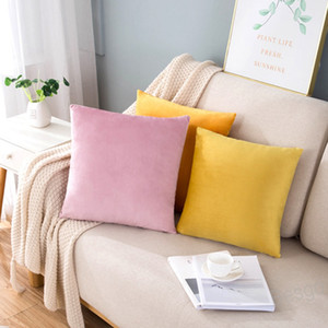 45*45cm Velvet Pillow Case Pillowcase Solid Office Lumbar Cushion Pillow Cover Sofa Decorative Pillow Cases Bedroom Home Decor BH4252 WXM
