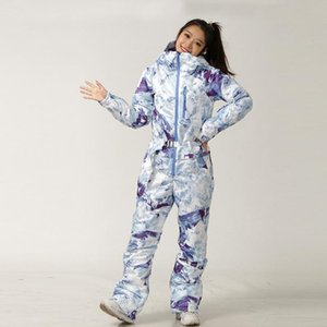 التزلج على الجليد دعوى المرأة سترة السراويل مجموعة أنثى الشتاء الدافئة الرياضة في الهواء الطلق التزلج من قطعة واحدة مقنع سنو الملابس وبذلة