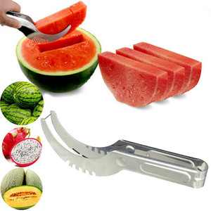 Stainless Steel Watermelon Slicer Cutter Melons Knife Cutter Corer Scoop Fruit Vegetable Tools Kitchen Gadgets NWB2655