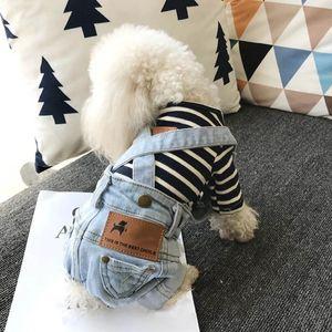 Chaqueta Denim perro de mascota Trajes de primavera y verano del perrito del chaleco vaquero ropa para perros de perrito de peluche del traje de dril de algodón