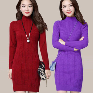Woman Plus Size Casual Mid-length Knit Sweater Solid Color Bottoming Versatile Thick Sweater Slim Lady Dress Autumn Winter New LJ201114