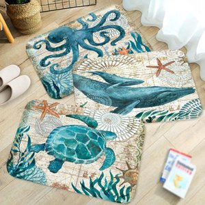 Marine Style Door Mat Floor Carpet for Living Room Sea Turtle Pattern Coral Fleece Rug Anti-Slip Doormat Home Decor