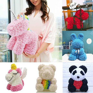 Sıcak Satış Köpek Panda Unicorn Teddy Bear Gül Sabun Köpük Çiçek Yapay Oyuncak Birtthday Valentines Kadınlar Için Noel Hediyeleri 201222