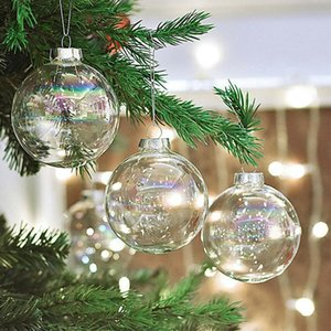 Ornaments Tree Drop Glass Iridescent Baubles Hanging Sphere Christmas Pendant Decoration Transparent Ball