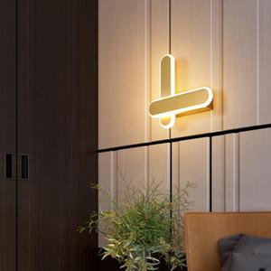 Modern Minimalist Wall Lamps Living Room Bedroom Bedside 14W AC96V-260V LED Sconce white gold Lamp Aisle Lighting decoration