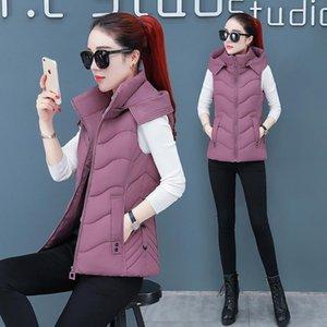 Женские жилеты Женские хлопковые жилет 2021 зимнее без рукавов Parkas пальто женское утолщение теплый с капюшоном короткая куртка верхняя одежда плюс размер 4xL W1219