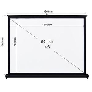 50inch 4: 3 Projector Tela Tabletop tela de projeção manual de Pull Up Folding Projetando Home Theater para DLP Projector