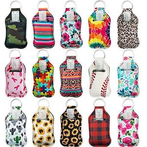 229 Styles Neoprene Hand Sanitizer Bottle Holder Keychain Bags 30ml Hand Sanitizer Bottle Chapstick Holder Wristlet Keychain OWB2207