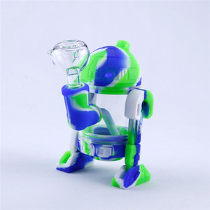 Robot Design Silicone Smoking Pipe DHL Free Shipping Glass Water Pipe Bong Mini Silicone Bongs Glass Bubbler Smoking Pipes