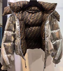 Marque veste womans mode femme Europe Amérique espace manteau court ruban d'argent FF vers le bas de veste de luxe veste veste coton hiver