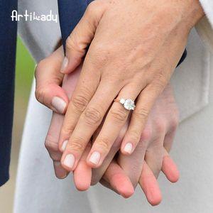 Anello di fidanzamento di Meghan anello reale anello nuziale Principe Harry Regolabile Roal Meghan con Pietra CZ per le donne gioielli da sposa