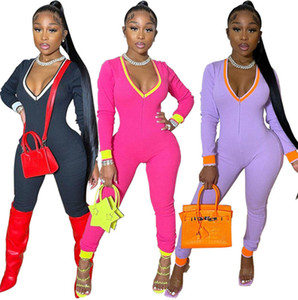 fall winter clothing Women long sleeve solid color Jumpsuits casual Rompers sexy V neck skinny bodysuits black overalls leggings DHL 4441