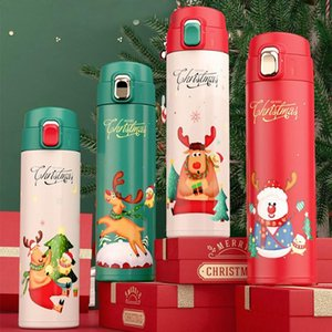 16oz Christmas Water Bottle Cartoon Santa Claus Elk Insulate Vacuum Thermos Stainless Steel Travel Mugs Water Flask Sea Shipping DDA645