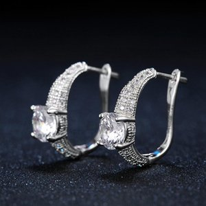 Charming Cubic Zirconia Fashion Stud Earrings Rose Gold Silver Color Style Ear Cuff Wedding Jewelry For Women Brincos DWE560